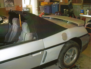 Putting the convertible canvas on the frame