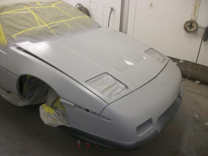 Fiero convertible in paint shop